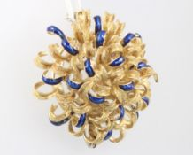 An 18ct yellow gold blue guilloche enamel open scroll brooch 18.2 grams gross, 35mm 8 of the