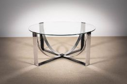 A CHROME CIRCULAR LOW TABLE, FRENCH 1970s, on downswept supports, with glass top, 43.5cm (h) x 91.