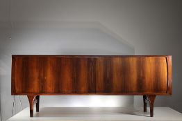 A FINE ROSEWOOD SIDEBOARD, DANISH 1960s, BY HENNING KJAERNULF FOR BRUNO HANSEN, with a pair of