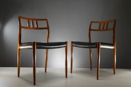 "A SET OF SIX ""MODEL 79"" DINING CHAIRS IN TEAK by Niels Otto Moller, Danish, 1960's on tapering"