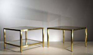 TWO GILT METAL SQUARE TABLES, FRENCH 1970s, with inset bronzed mirror tops, 41cm (h) x 60cm (