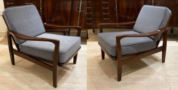 A PAIR OF DANISH TEAK ARMCHAIRS, 1960's OF SHAPED FORM