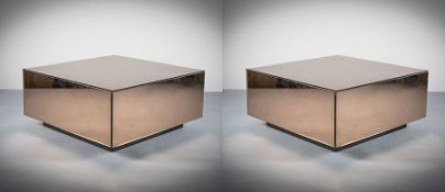 A PAIR OF MIRRORED SQUARE COFFEE TABLES, FRENCH 1970s, on plinth base, each measuring 81cm (w) x