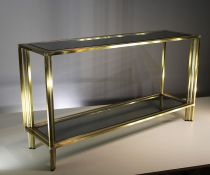 A GILT AND CHROME 2 TIER CONSOLE TABLE, ITALIAN 1970's WITH INSET SMOKED SHELVES, 130cm (w) x