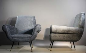 A PAIR OF ITALIAN UPHOLTERED EASY CHAIRS, 1960s, on tapering legs, with brass feet (2).