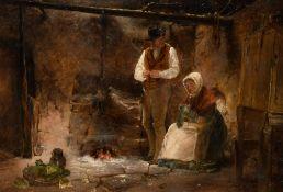 CROFTERS FIRESIDE by Erskine Nicol