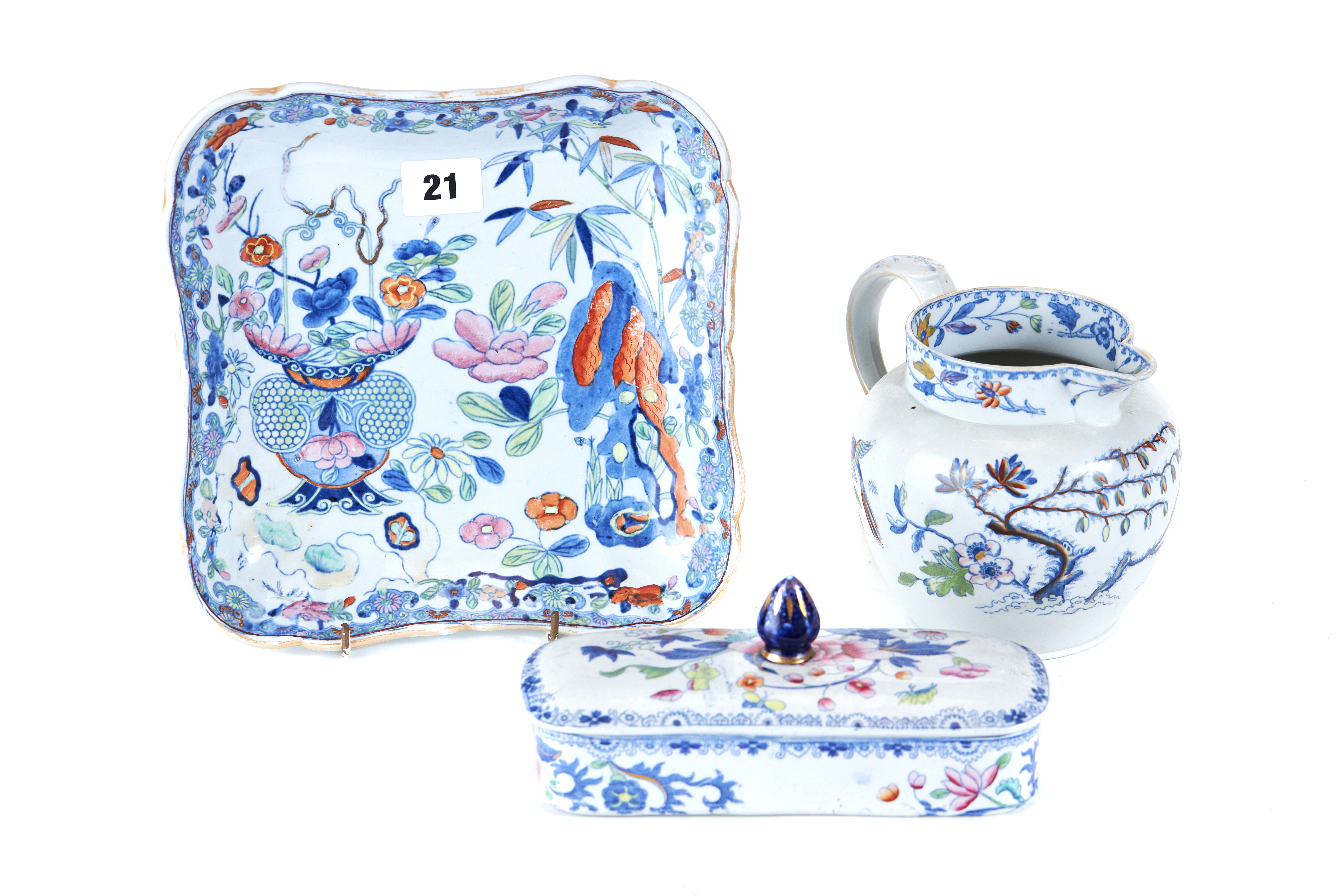 Lot 21 - A PAIR OF 19TH CENTURY MASON'S IRONSTONE FLORAL DECORATED SQUARE DISHES,