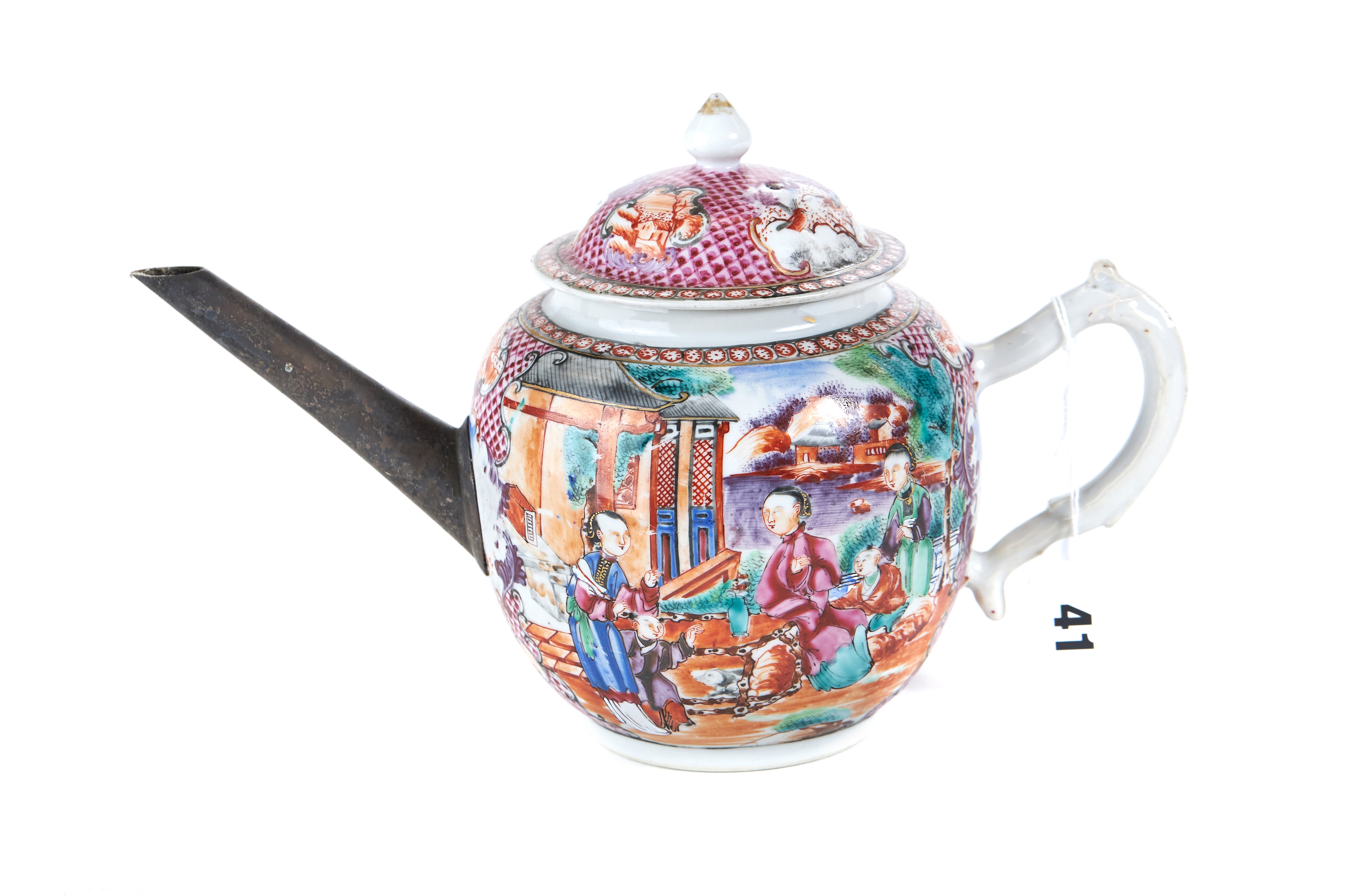 AN 18TH CENTURY CHINESE PORCELAIN MANDARIN PATTERN TEAPOT AND COVER with pink trellis ground,