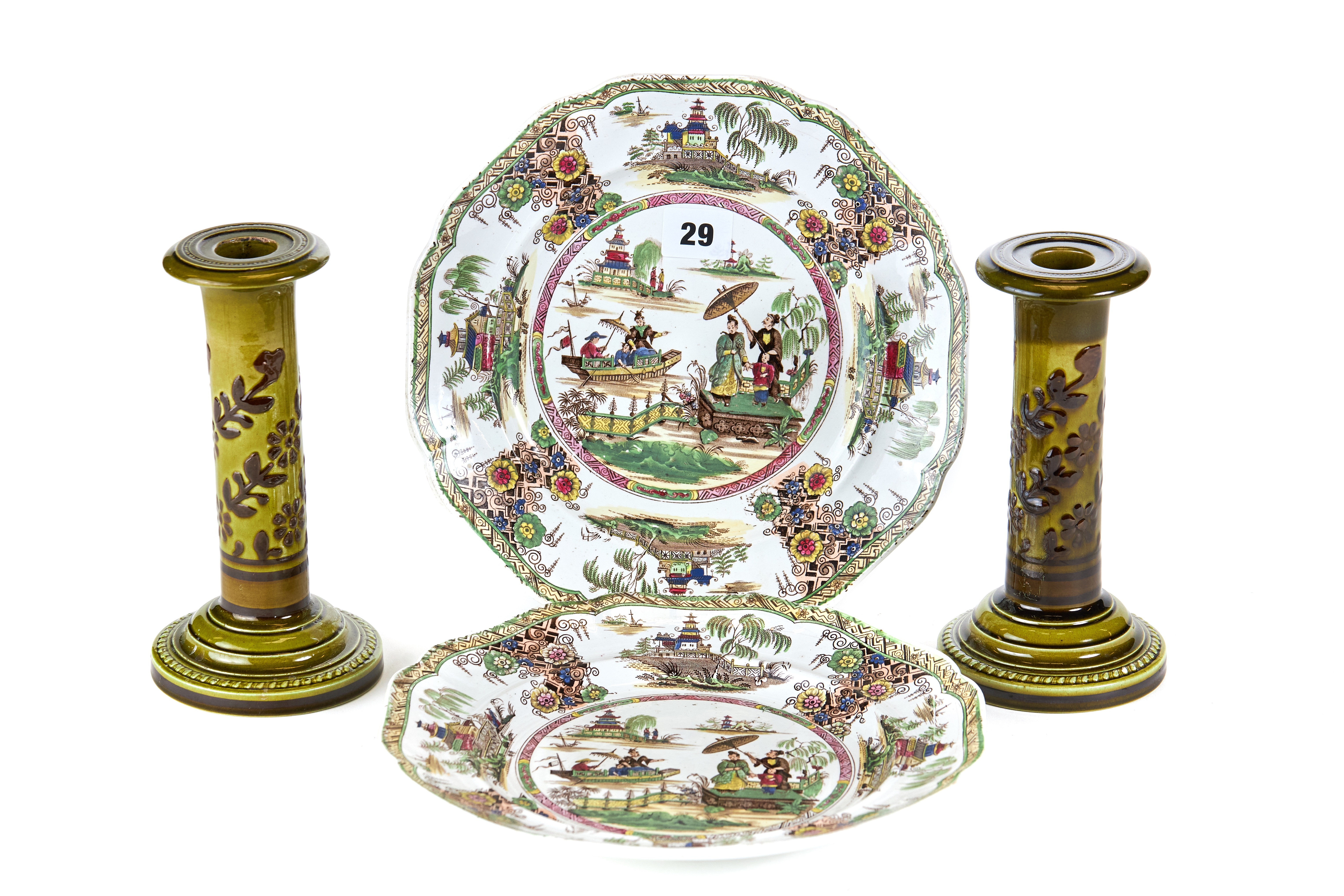 "A PAIR OF 19TH CENTURY RIDGWAYS ""NAPIER"" IMPERIAL STONE CHINA PLATES decorated with Oriental"