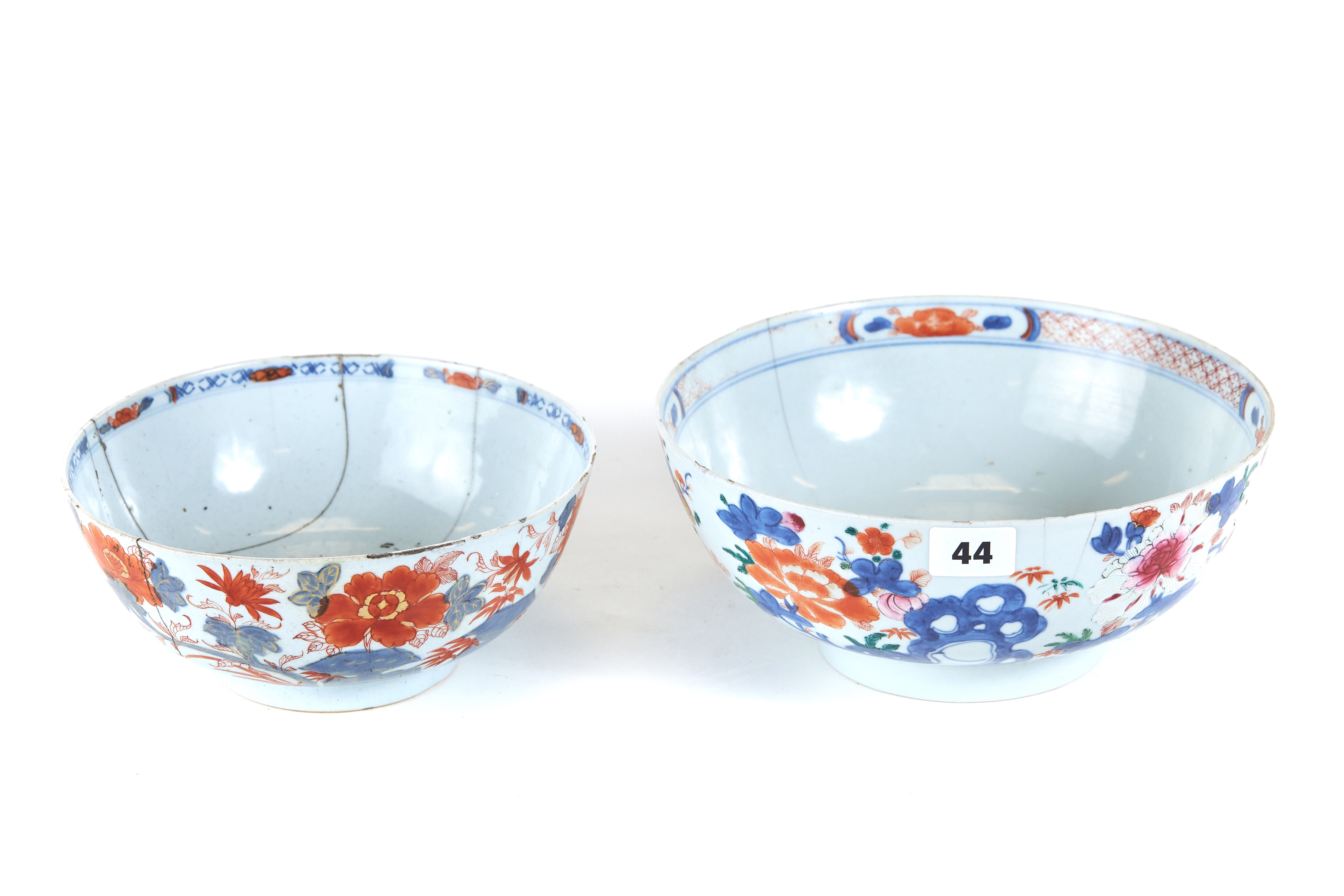 AN 18TH CENTURY CHINESE PORCELAIN BOWL polychrome decorated with leaves and flowers,