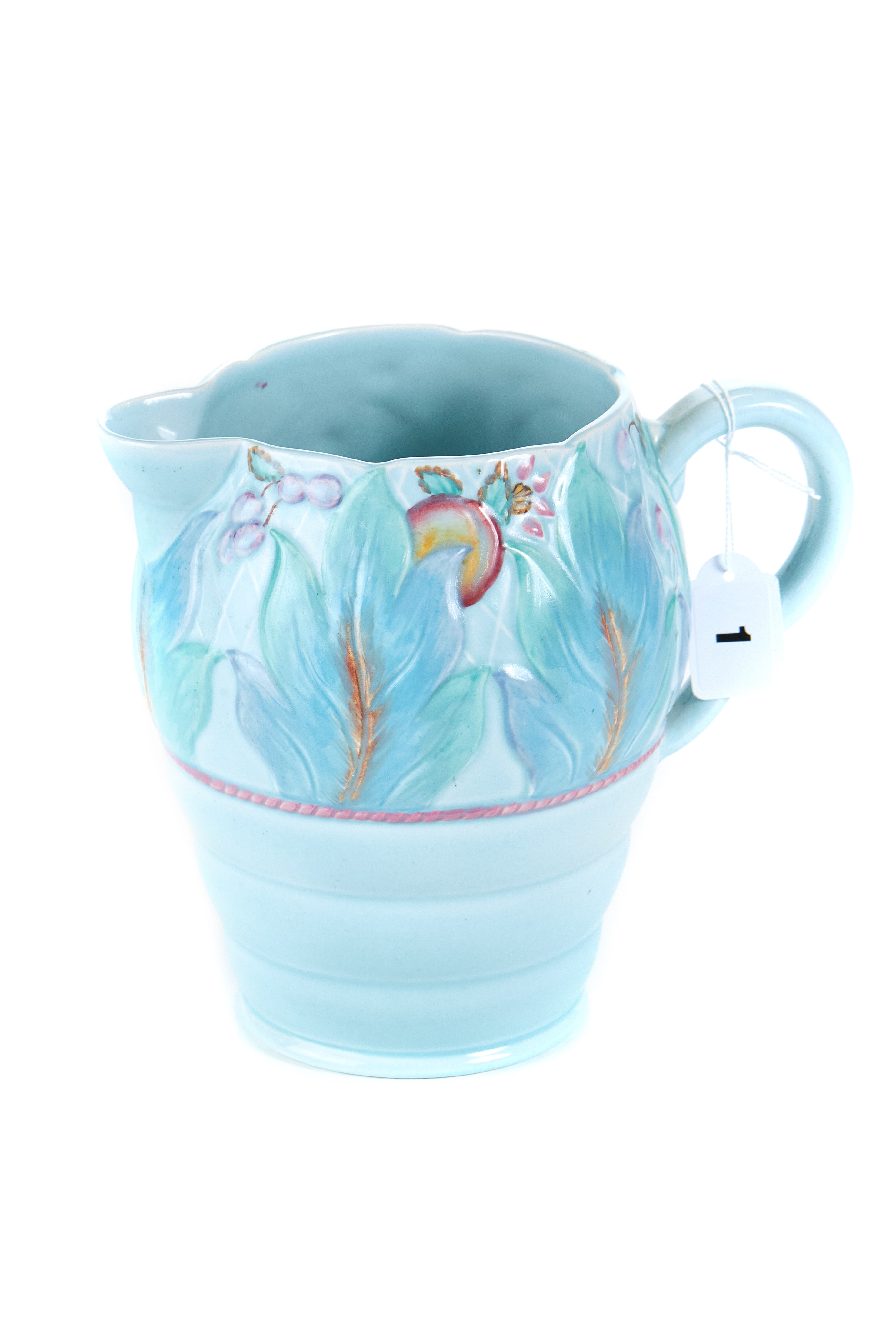 Lot 1 - A 20TH CENTURY CLARICE CLIFF NEWPORT POTTERY JUG, blue glazed with moulded floral decoration,