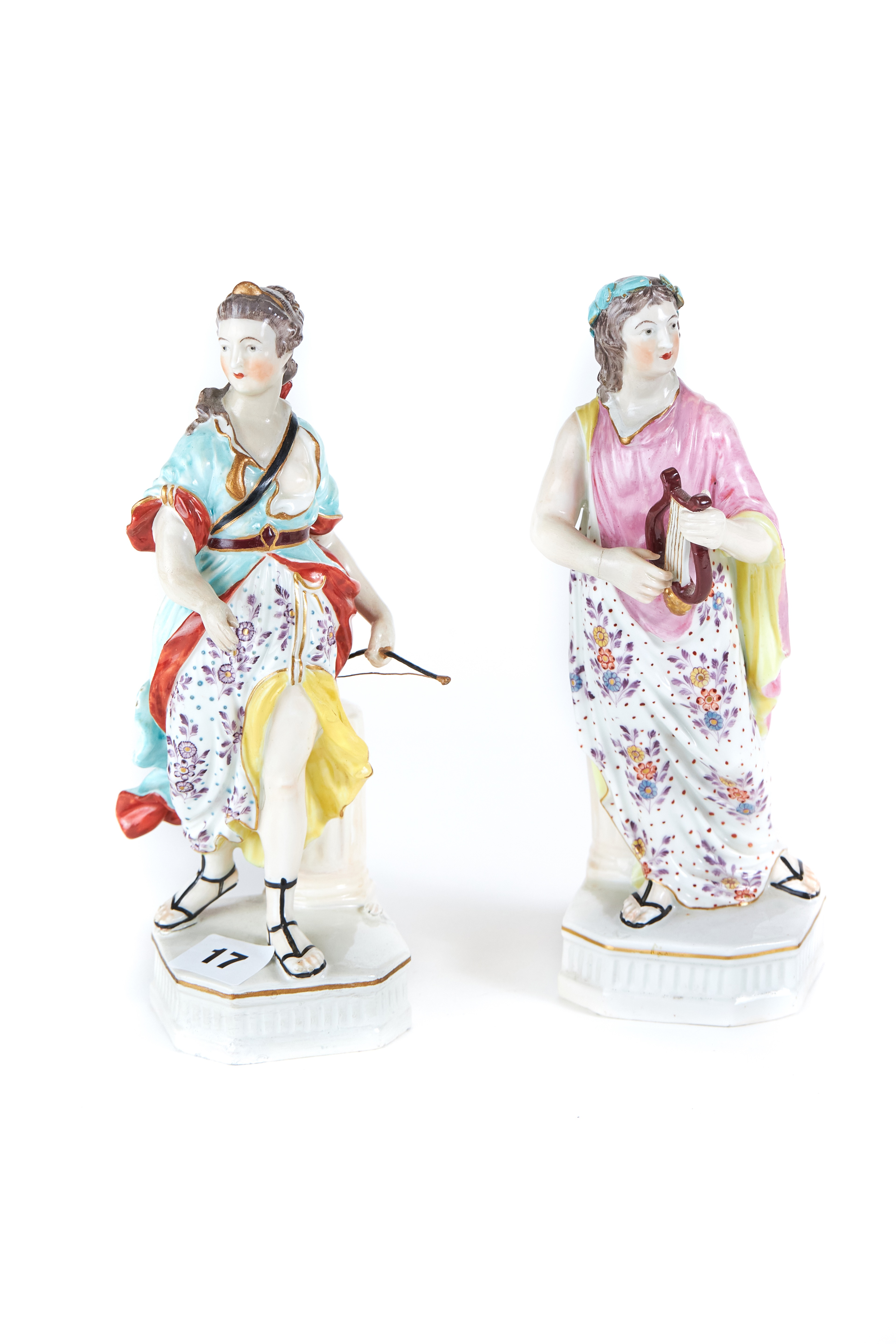 Lot 17 - A PAIR OF 18TH CENTURY DERBY PORCELAIN FIGURES decorated in polychrome enamels,