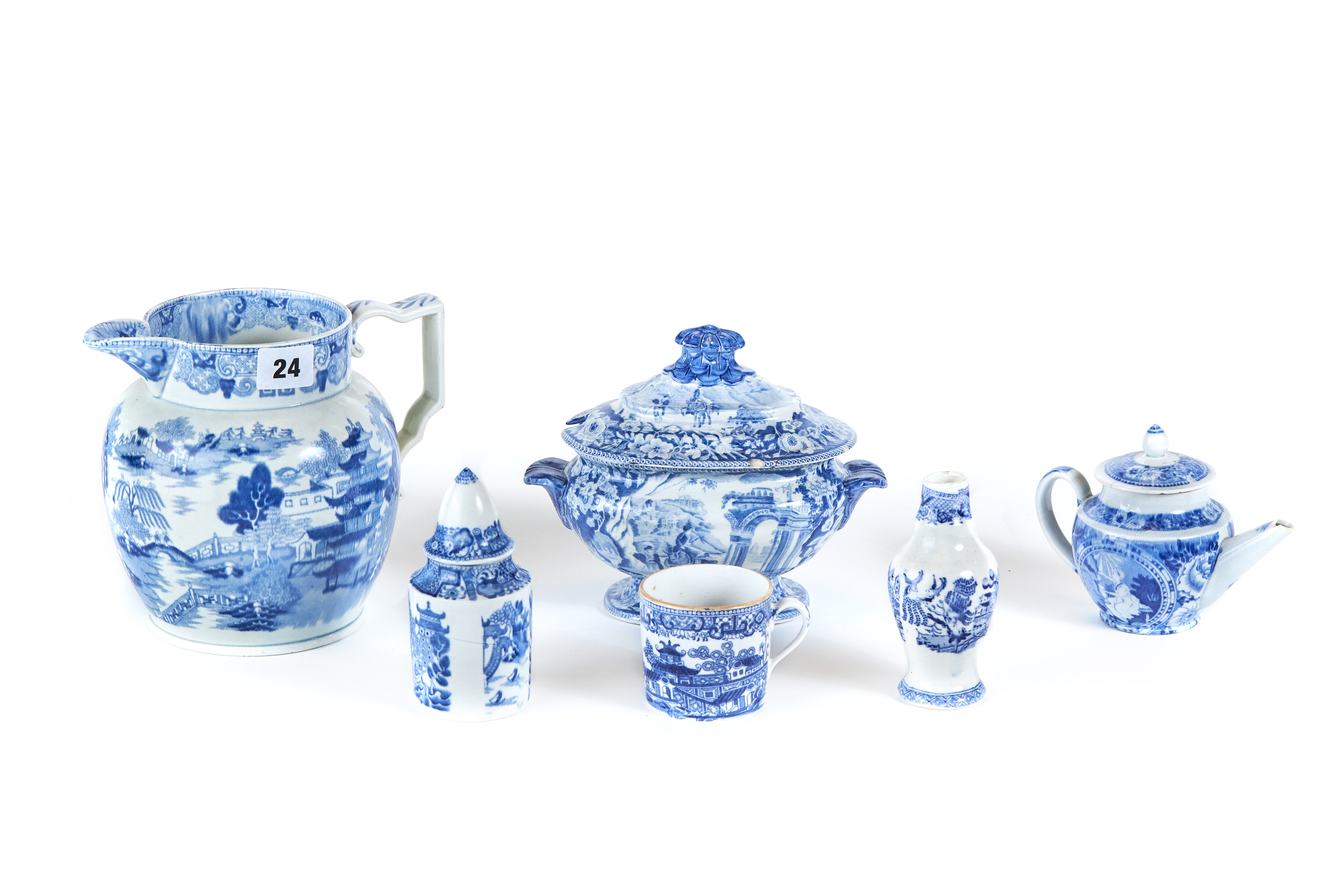 "A PAIR OF 19TH CENTURY ""CLEWS"" STAFFORDSHIRE BLUE AND WHITE TRANSFER DECORATED SAUCE TUREENS AND"