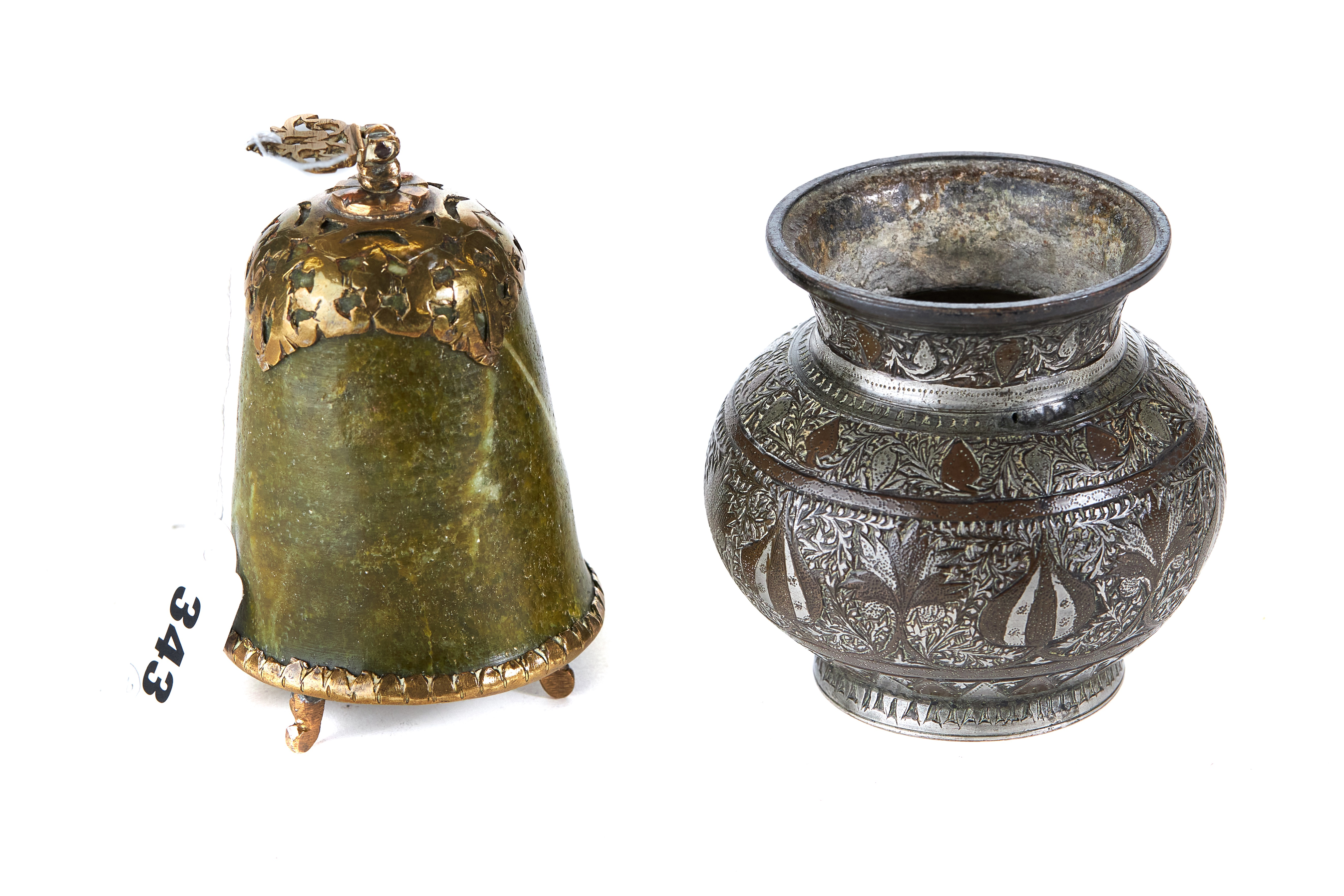 Lot 343 - AN ANTIQUE GREEN HARDSTONE AND BRASS MOUNTED BELL SHAPED FLASK with screw in stopper,