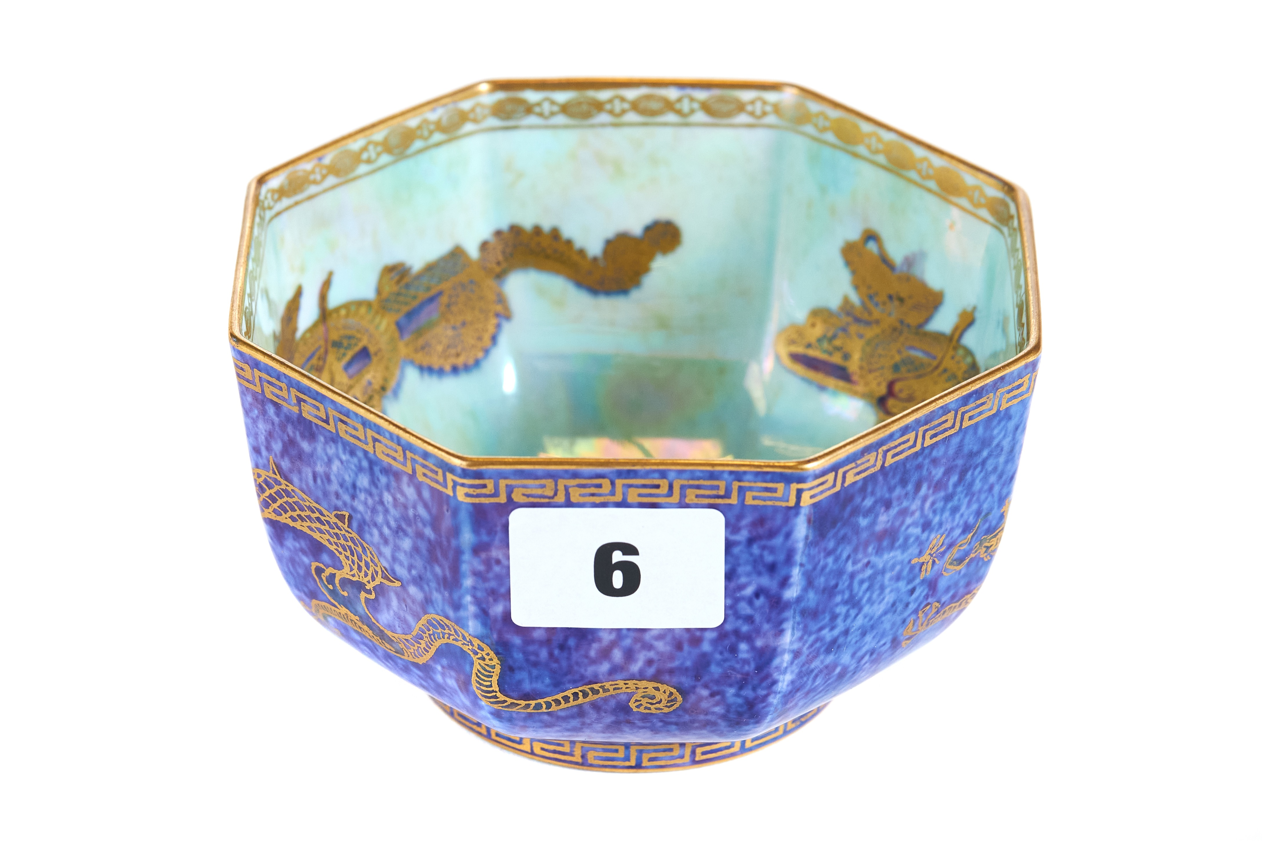 Lot 6 - AN EARLY 20TH CENTURY WEDGWOOD LUSTRE WARE OCTAGONAL BOWL,