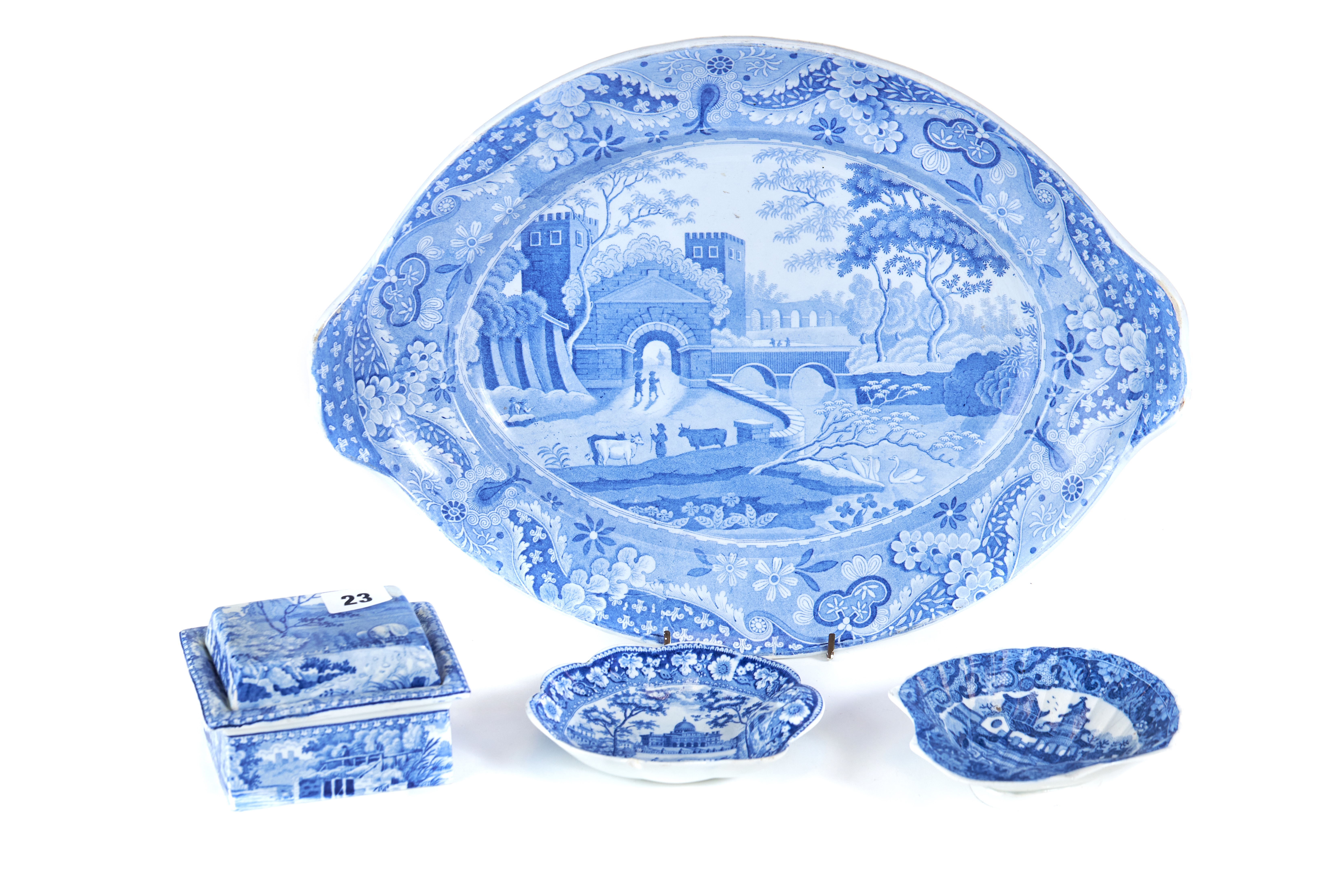 Lot 23 - A 19TH CENTURY RECTANGULAR BLUE AND WHITE TRANSFER DECORATED SOAP DISH, STRAINER AND COVER,