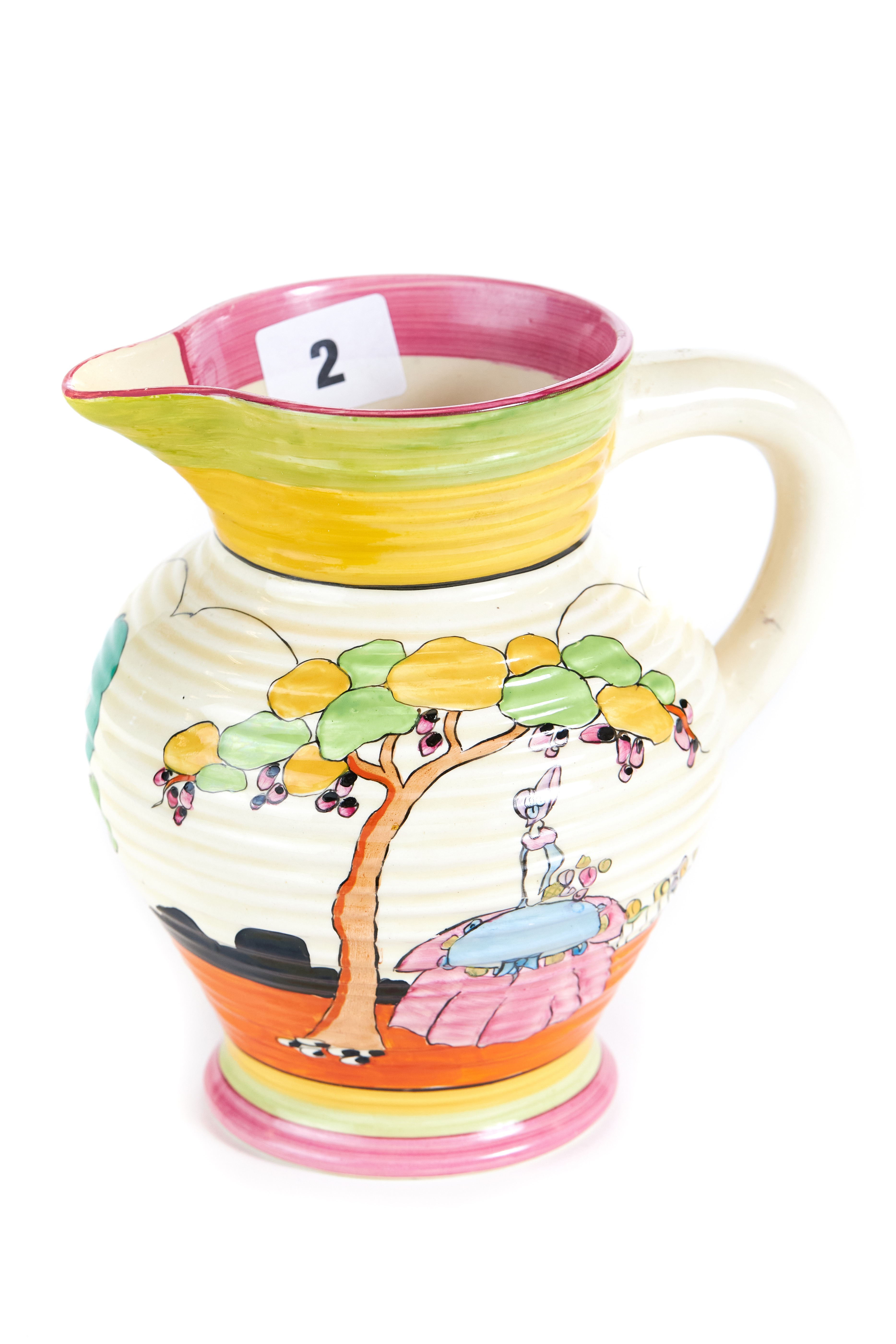 A 20TH CENTURY CLARICE CLIFF NEWPORT POTTERY JUG hand painted with a crinoline lady in a garden