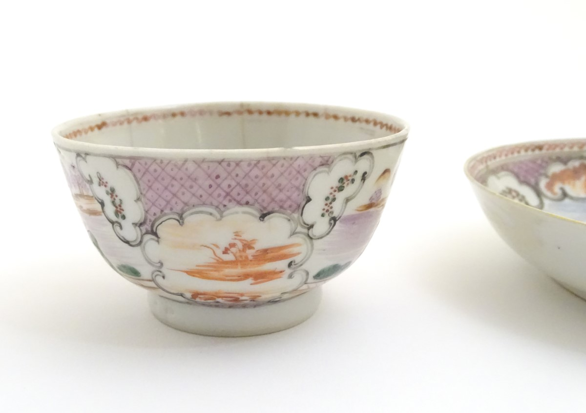 Lot 5 - A Chinese famille rose tea bowl and saucer with hand painted decoration depicting figures on a