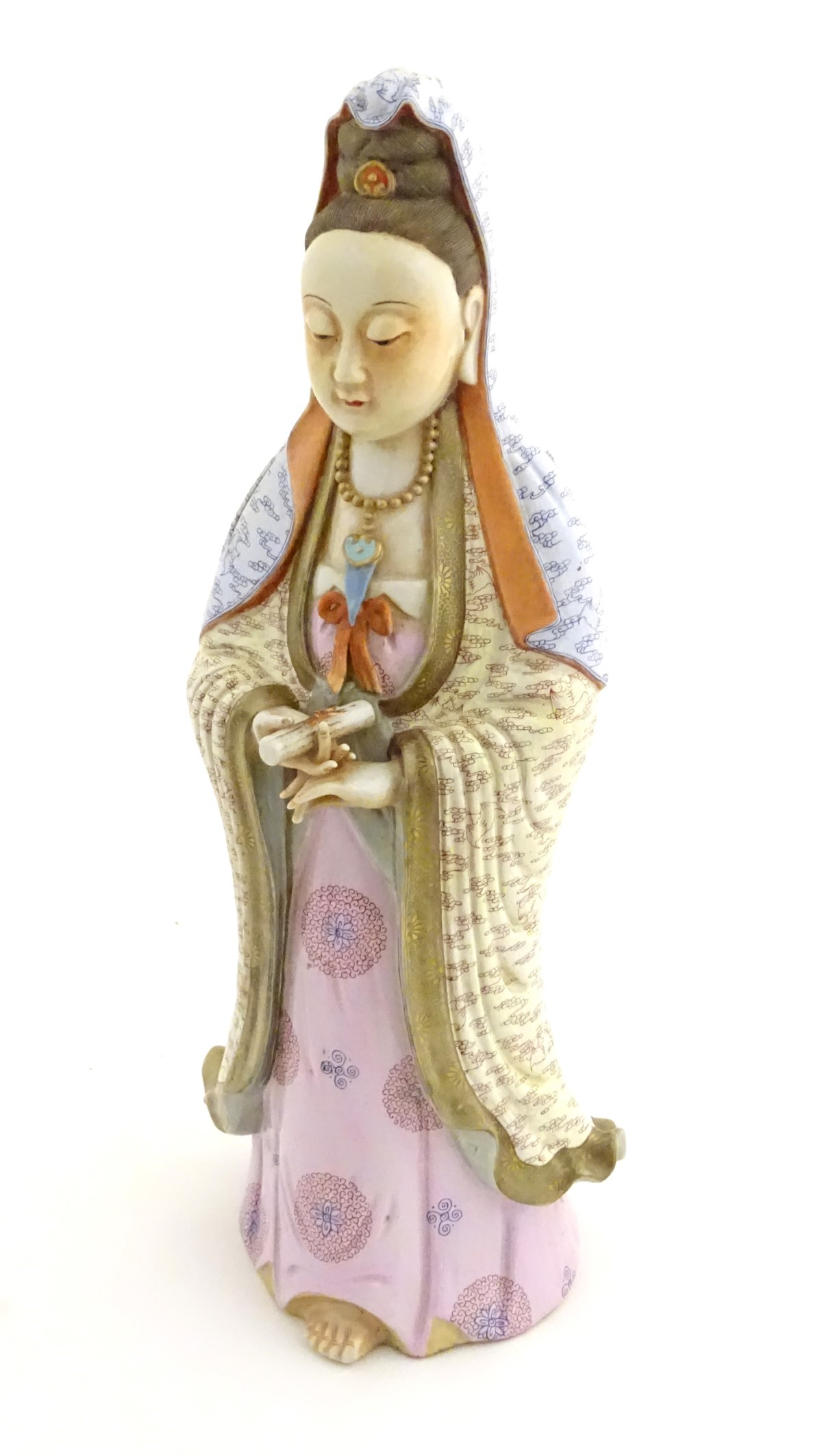 Lot 27 - A Chinese famille rose standing figure of Guanyin,