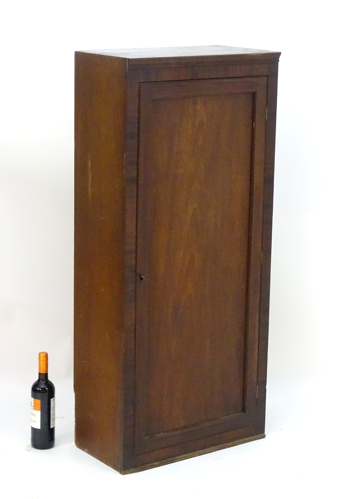 Lot 846 - An early 20thC mahogany cupboard with a single panelled door opening to reveal fitted shelves