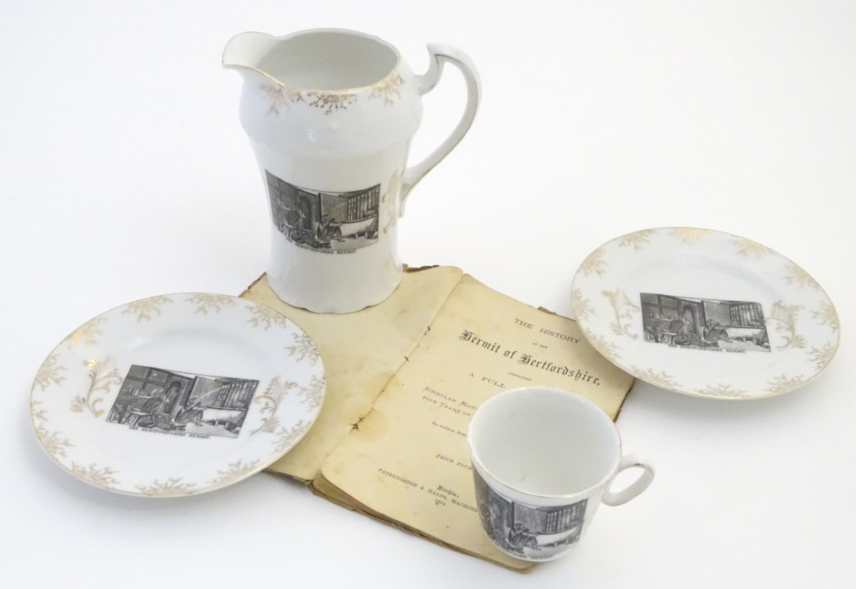 Lot 54 - Local interest 19thC English ceramics, comprising a jug and two cups and saucers,