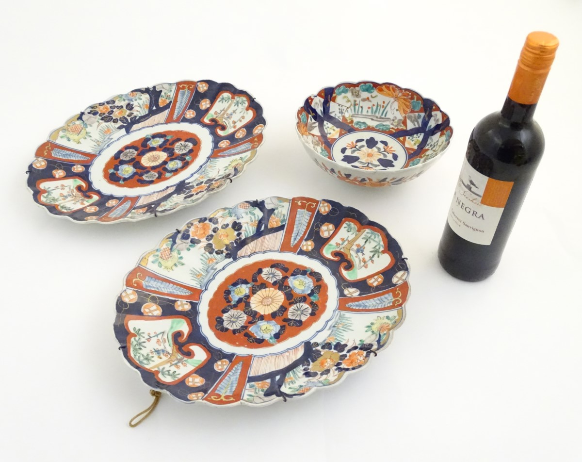Lot 16 - Two Imari dishes of oval form with lobed rims,