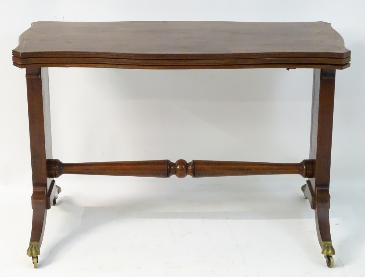 Lot 847 - A mid 19thC mahogany metamorphic table / buffet with satinwood decorative stringing,