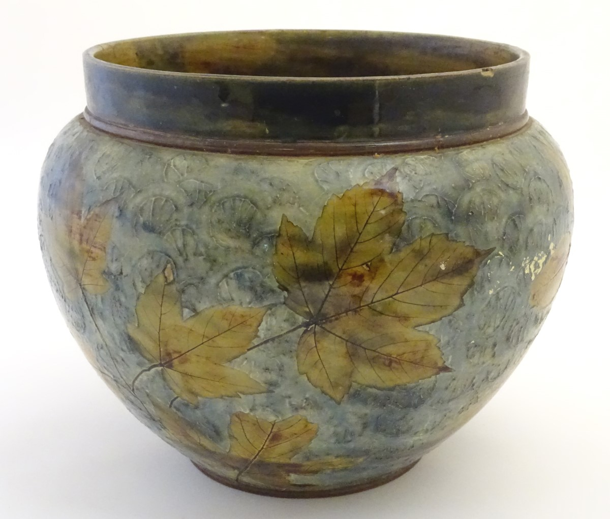 Lot 53 - A Royal Doulton stoneware jardiniere / planter of bulbous form, designed by Maud Bowden,