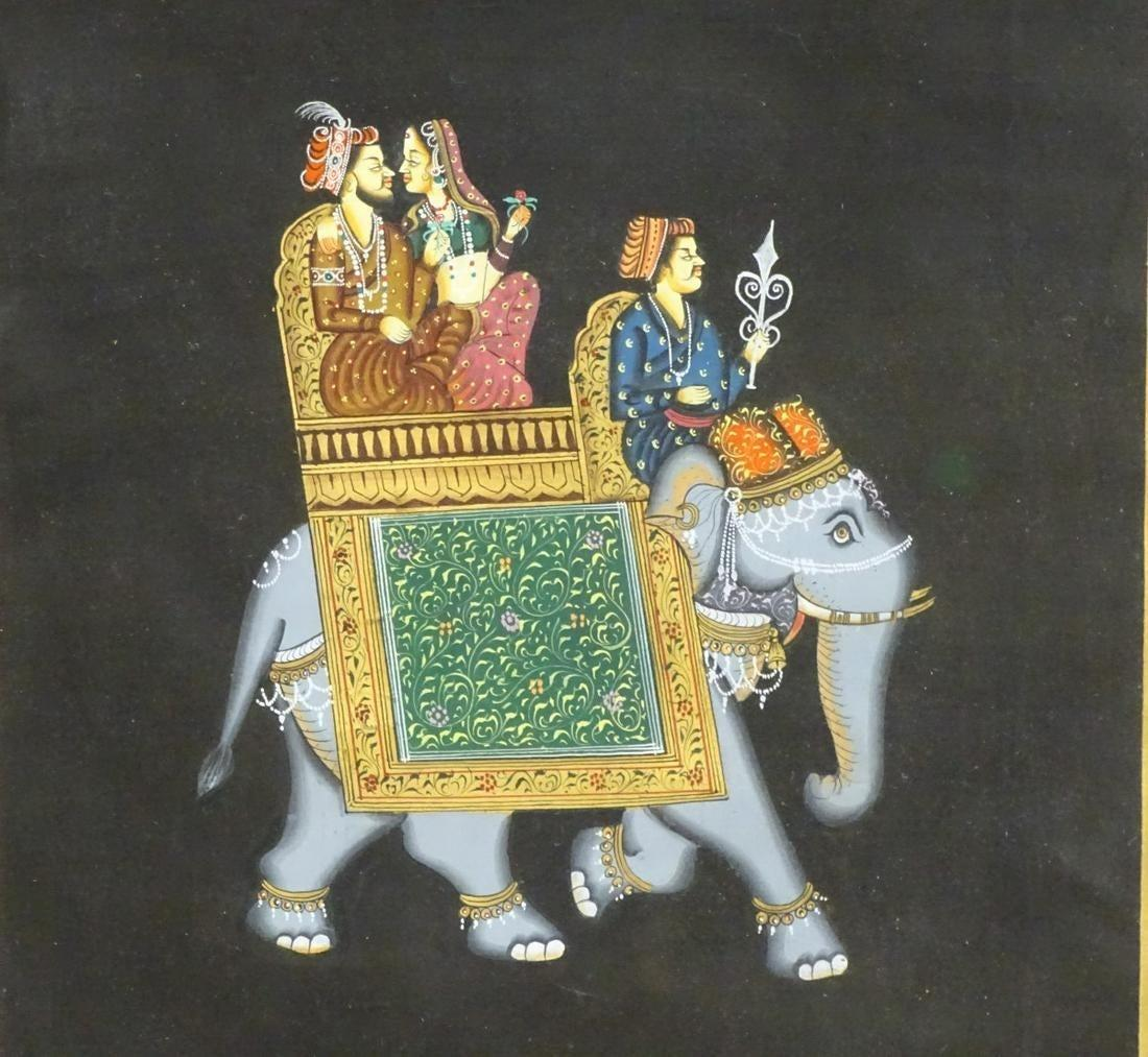Lot 696 - XX, Indian School, Gouache on fabric, A couple seated in a howdah a decorated elephant, possibly a