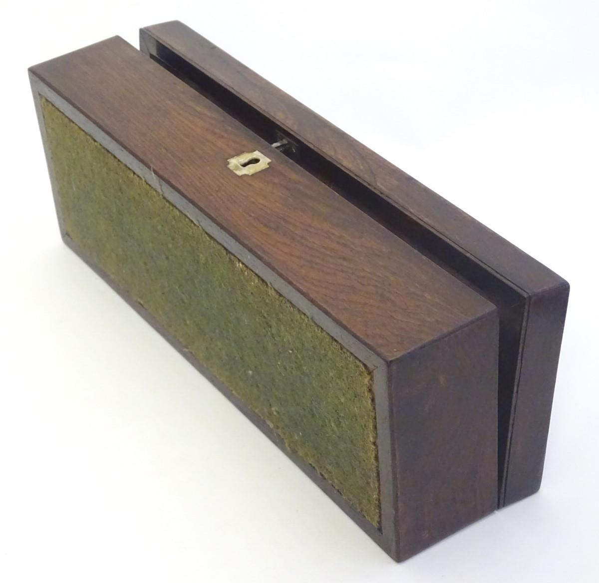 """Lot 773 - A 19thC mahogany glove box of rectangular form with inlaid mother of pearl detail. Approx. 3"""" x 11"""