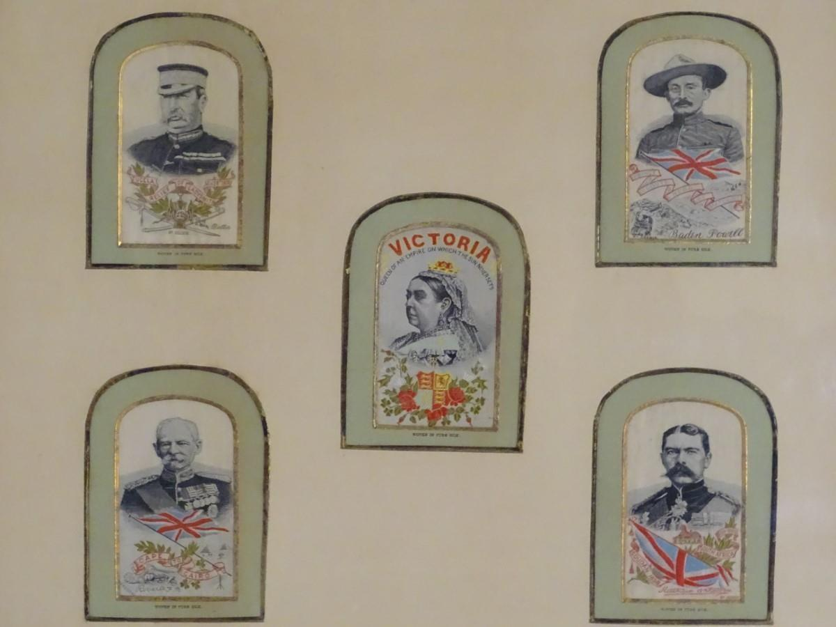 Lot 1270 - Five early 20thC stevengraphs woven on pure silk, framed together in arch shaped mounts.