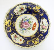 A Bloor Derby soup dish / plate with a cobalt ground and gilt highlights, the central section and