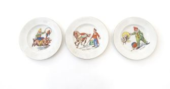Three Morley, Fox & Co. children's circus plates, comprising, A Piggie Back, with a circus figure