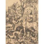 "D'après Albrecht Dürer (1471-1528), ""Saint Hubert"", héliogravure, monogramme au [...]"