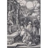 """Albrecht Dürer (1471-1528), """"La messe de Saint Grégoire"""" 1511. Xylographie tirage, [...]"""