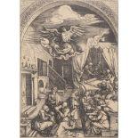 "Albrecht Dürer (1471-1528), ""La naissance de Marie"" vers 1503. Gravure tirage [...]"