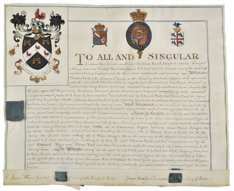 Lot 1 - * Barbados. Grant of arms to Thomas Yard, 1810