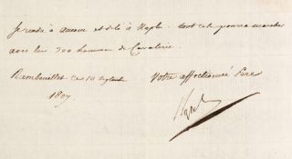 * Napoleon I (1769-1821). A very fine Letter Signed, 'Napol' Rambouillet, 10 September 1807,