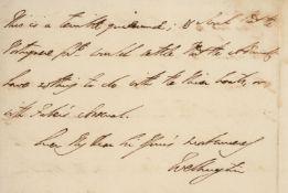 Wellington (Duke of). Autograph letter signed to Sir Charles Stuart, 1811, partly unpublished