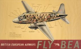* British European Airways. A FLY BEA colour poster c.1950