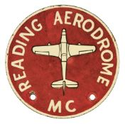 * Car Badge. Reading Aerodrome (RAF Woodley), Motor Club Car Badge, circa 1930s/40s