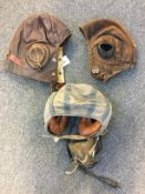 * Flying Helmets. A WWII B Type flying helmet and others