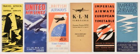 * Civil Aviation. Imperial Airways and other airline timetables and ephemera c.1930s