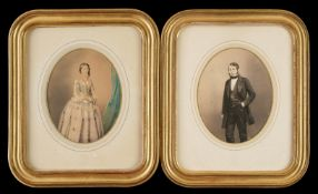 * Mayer (Ernest & Pierson). A pair of colour-tinted salt prints of a young man and woman, c. 1855
