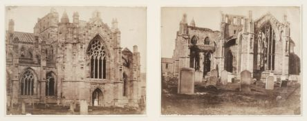 * British School. Two views of Melrose Abbey, c. 1850, salted paper print