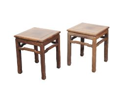 GOOD PAIR OF ROSEWOOD STOOLS (FANGDENG), LATE MING / EARLY QING