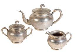 CHINESE EXPORT SILVER THREE PIECE TEA SET, ZEEWO, SHANGHAI, EARLY 20TH CENTURY