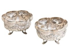 PAIR OF INDIAN SILVER SALTS, LATE 19TH / EARLY 20TH CENTURY