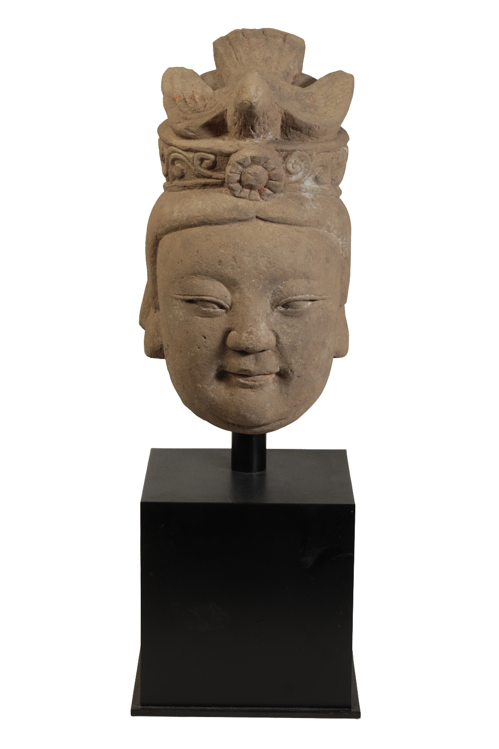 CARVED STONE BODHISATVA HEAD, MING OR LATER - Image 2 of 2