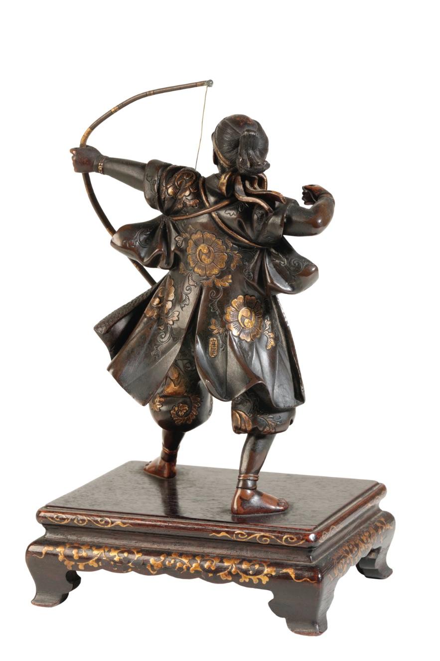 FINE JAPANESE MIXED METAL BRONZE FIGURE OF AN ARCHER, BY MIYAO EISUKE, MEIJI PERIOD - Image 4 of 4